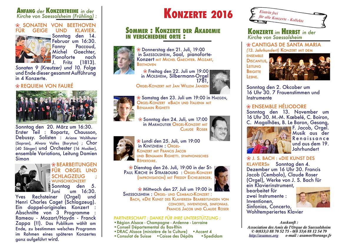 A4 Amis de l'Orgue Saessolsheim les concerts 2016 Allemand BD