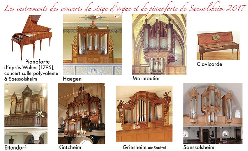 les instruments des concerts du stage d'orgue de Saessolsheim 2017